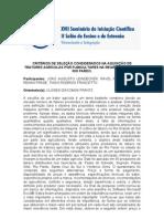 Critérios de seleção considerados na aquisição de tratores agrícolas por fumicultores na região do vale do rio pardo