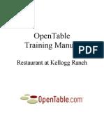 Open Table Training Restaurant  Manual