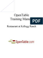 Open Table Training Restaurant  Manual