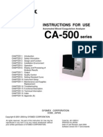 Sysmex CA-500 Blood Coadulation Analyzer - Instruction Manual