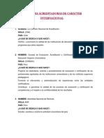 ENTIDADES ACREDITADORAS DE CARÁCTER INTERNACIONAL