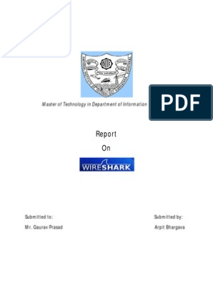 Report on Wireshark | Communications Protocols | Network Packet