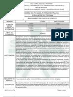Programa de Formación.  Mantenimiento de Equipos de Computo. Código 839312