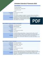 Informações Extensão LABFEF 2º Semestre 2013