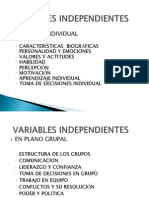 Variables Independientes- En El Plano Grupal
