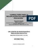 Informe - Recopilación Documental de estudios, experiencia y documentos relacionados con el área educativa