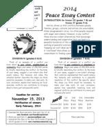 Peace Essay Contest 2014 Div. III & IV for Grades 5-8