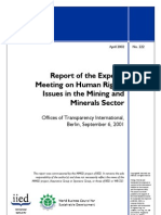 Report of the Experts Meeting on Human Rights Issues in the Mining and Minerals Sector, 2002