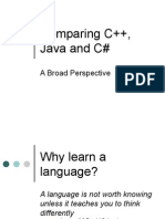 Comparing C++ Java And C#