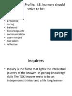 IB Learner Profile Assignemnt