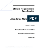 srs for attendance management system | Specification
