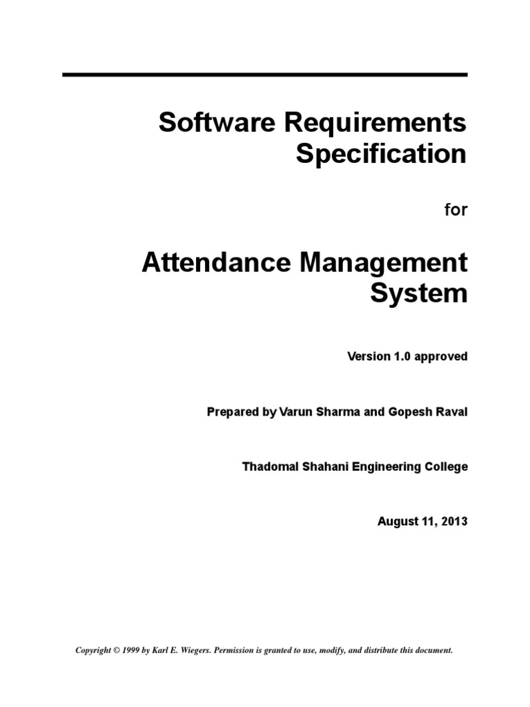 attendance management system srs Online attendance management system for employees project is a web application which is implemented in php platformfree download online attendance management system.