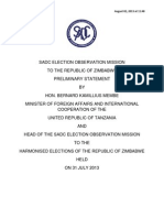 final preliminary statement of the sadc election observer mission to the july 31 20131