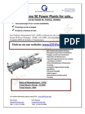 Frame 9e Gas Turbine Plant | Gas Turbine | Natural Gas
