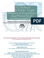 2012 Strategic Buyer Public Target Mergers and Acquisitions Deal Points Study