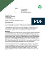 2009-02-03 Letter to President Barack Obama