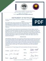 Instrument of Ratification-Universal Declaration of Human Rights