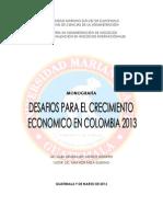 monografia DESAFÍOS PARA EL CRECIMIENTO ECONOMICO EN COLOMBIA 2013