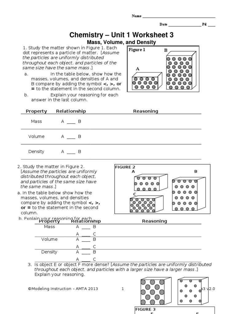 worksheet Chemistry Unit 4 Worksheet 3 05 ws3 density matter