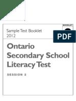 OSSLT SampleTestBooklet2 2012 Web
