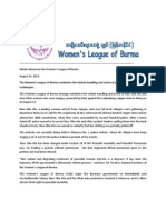 Women's League of Burma Media Release on the Arrest of Naw Ohn Hla and Other Activists 14 Aug 2013