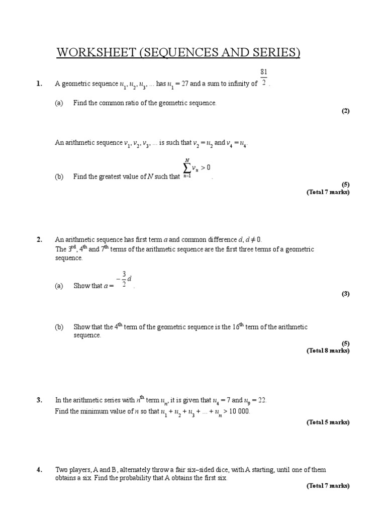 worksheet Arithmetic Series Worksheet sequences and series summation trigonometric functions