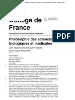 Philosophie des sciences biologiques et médicales - Philosophie des sciences biologiques et médicales - Collège de France