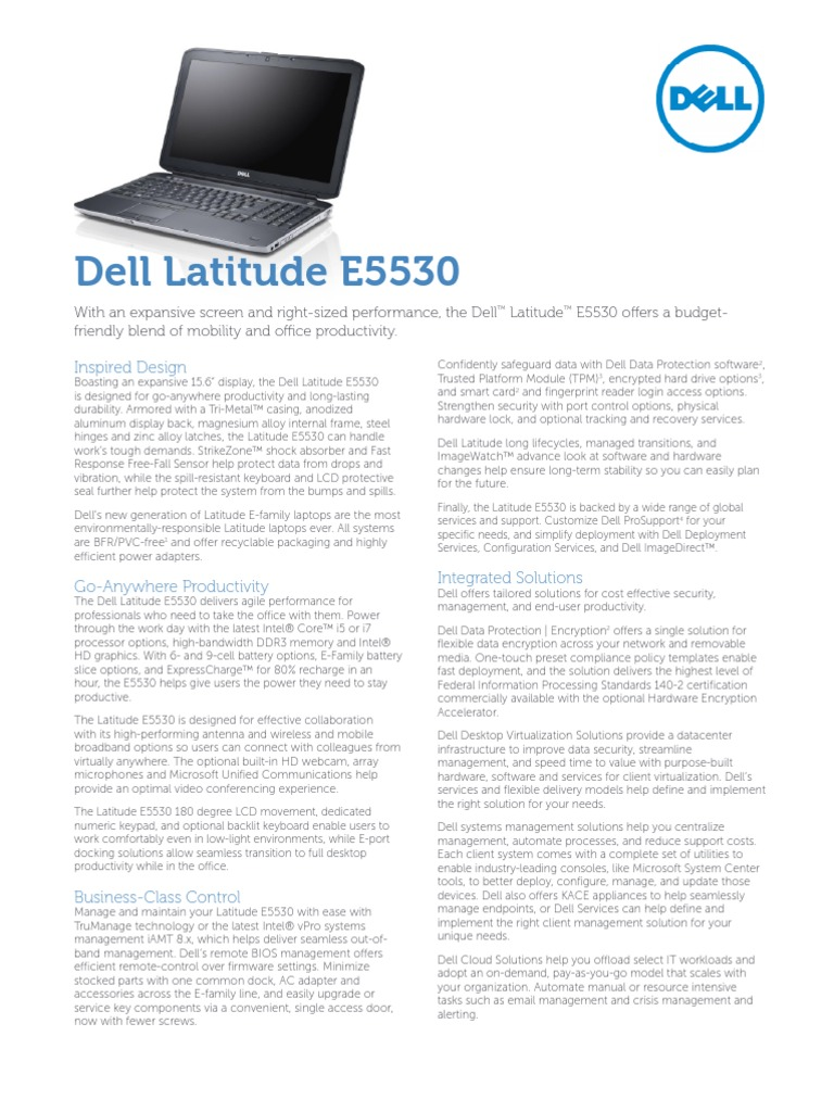 Dell Latitude E5530 Spec Sheet | Virtualization | Dell