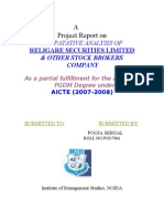 Compatative Analysis of Religare Securities Limited & Other Stock Brokers Company
