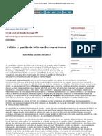 González de Gómez. Política e gestão da informação novos rumos.