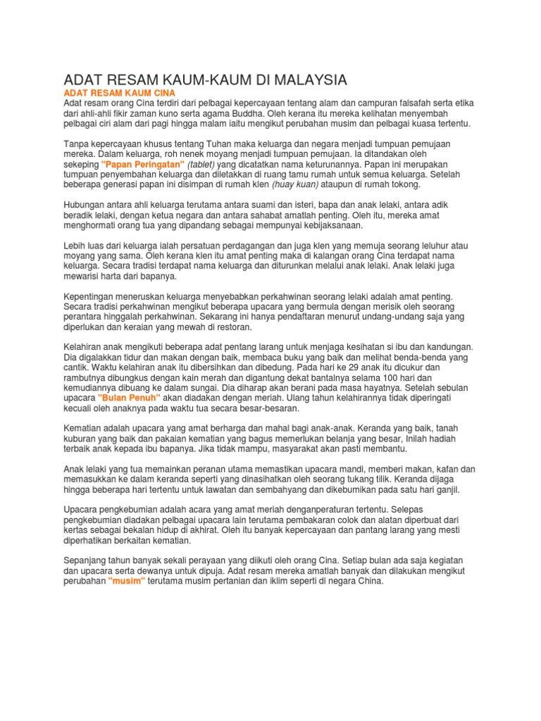 Adat Resam Kaum Kaum Di Malaysia