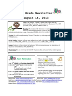 3rd grade newsletter aug 16