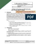 Garantia Da Qualidade Da Sorologia Para HIV Segundo a Portaria Nº59