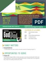 Church Bulletin for August 16 & 18, 2013