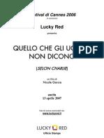 2007 Italian Pressbook - Quello che gli uomini non dicono (Selon Charlie) by Nicole Garcia with Jean-Pierre Bacri