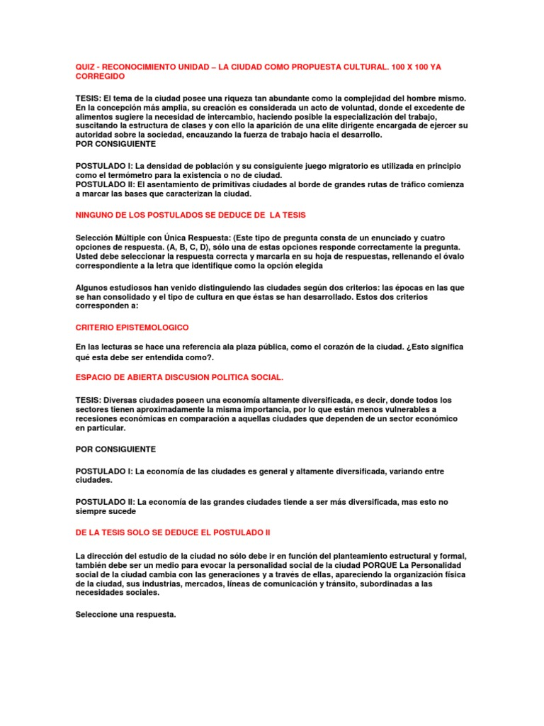 Quiz Reconociieto Unidad La Ciudad Como Propuesta Cultural 100 x 100 ...