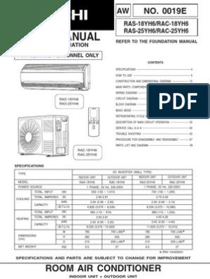 Hitachi Manual RAS_RAC-18-25YH6 | Air Conditioning | Hvac