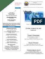 MBC Bulletin - 3rd Sunday 2013 (Youth Sunday 8-18-2013)[1]
