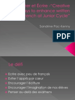 """Créer et Écrire -""""Creative ways to enhance written French at Junior Cycle""""Sandrine Pac-kenny"""
