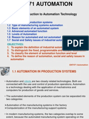 Chapter 1 Introduction to Automation Technology   Automation