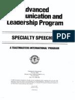 Specialty Speeches