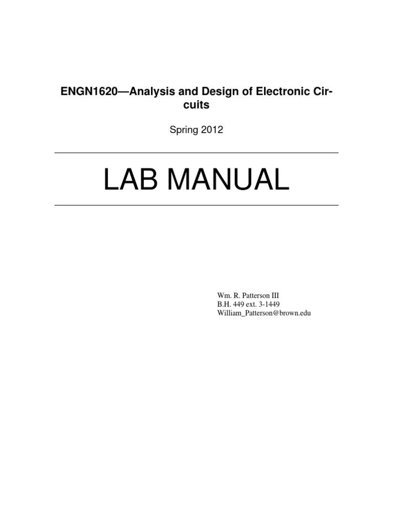 electronics lab manual capacitor resistorElectronic Circuit Analysis And Design Lab Manual #8