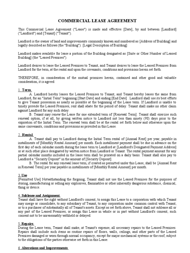 Commercial Lease Agreement Lease Leasehold Estate