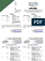 Panfleto de Promoción de las Actividades del Mes de Septiembre 2013