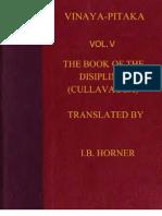 Horner I B Tr Book of the Discipline Vinaya Pitaka Vol v Cullavagga 472p