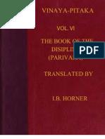 Horner I B Tr Book of the Discipline Vinaya Pitaka Vol VI Parivara 428p