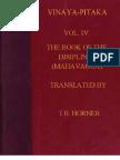 Horner I B Tr Book of the Discipline Vinaya Pitaka Vol IV Mahavagga 568p