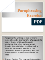 Paraphrasing Exercise