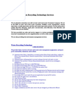 Water Recycling Technology Services - Introductory Latter