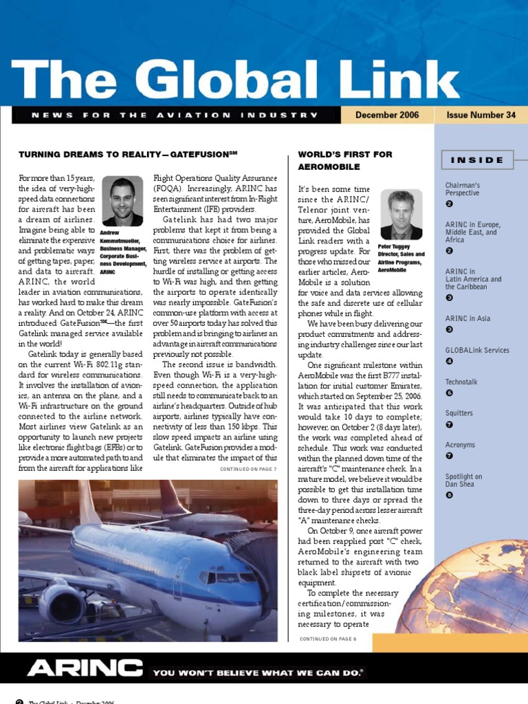 ARINC Global Aeronautical Comm  | High Frequency | Roaming